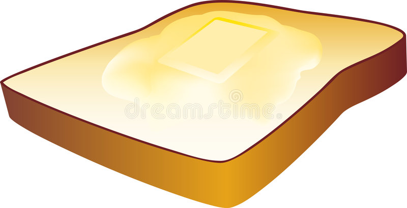 Hot Buttered Toast. Realistic 3D toast with melted pad of butter stock illustration