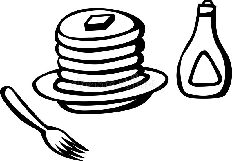 Download Hot Cakes With Syrup And Fork Vector Illustration Stock Vector - Image: 2077360