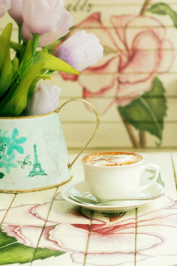 Download Hot Cappuccino On Paint Wooden Table With Vintage Style Stock Photo - Image: 41858125