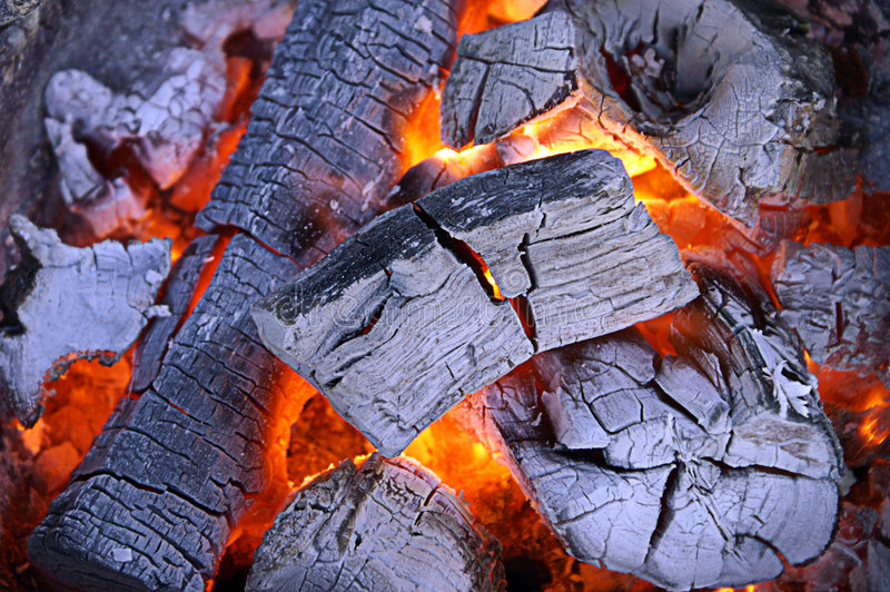 Hot charcoal royalty free stock image