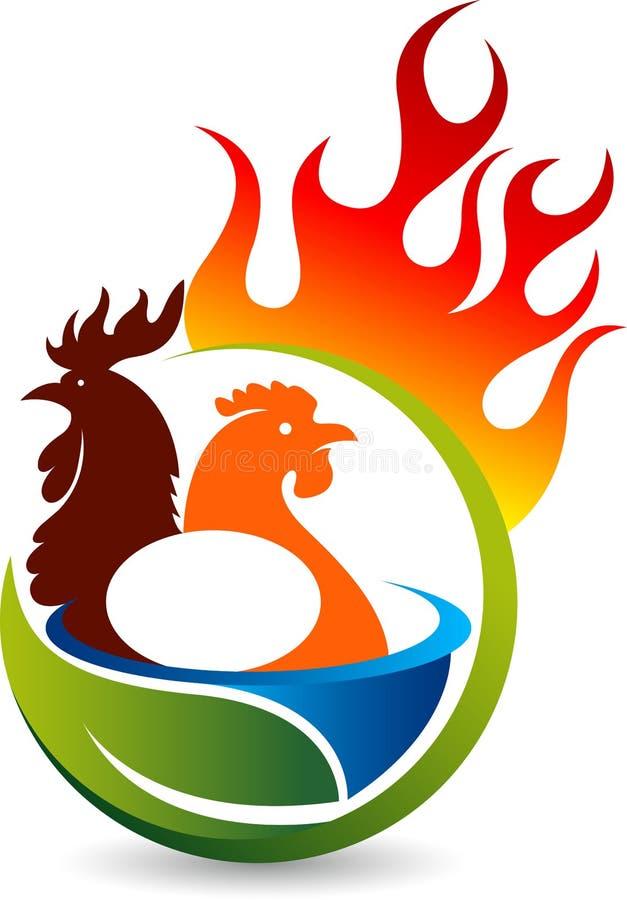 Hot chicken logo vector illustration