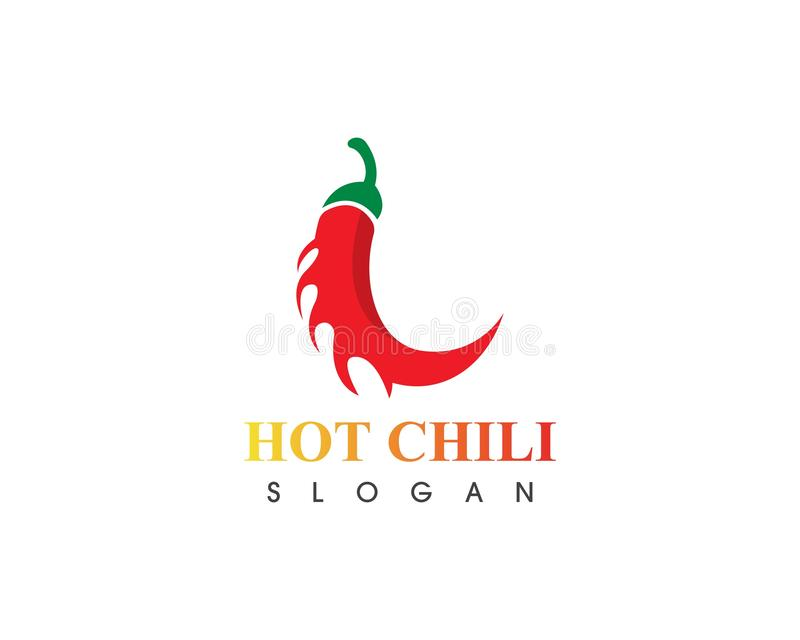 Hot chili logo template design vector, concept design, creative icon. Red, pepper, spicy, food, spice, ingredient, background, fresh, mexican, vegetable, green stock illustration