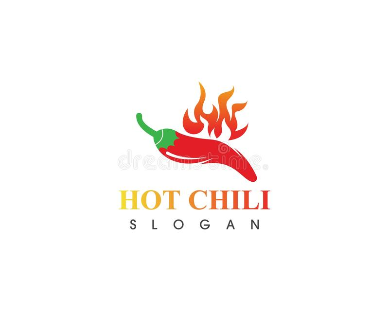 Hot chili logo template design vector, concept design, creative icon. Red, pepper, spicy, food, spice, ingredient, background, fresh, mexican, vegetable, green royalty free illustration