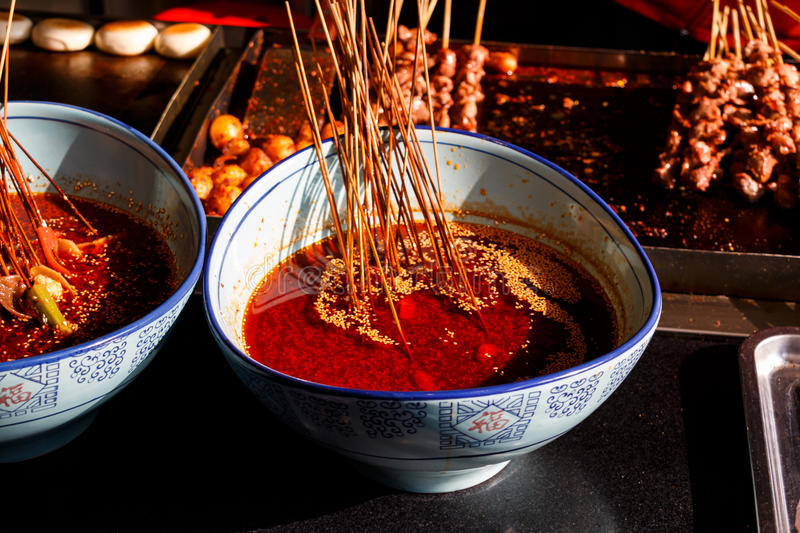 Hot Chili Oil in Chengdu, Sichuan. The hot chili oil in Kuanzhai Xiangzi, Chengdu, Sichuan, China. The people in Sichuan, as well as Chongqing, loves hot chili stock photos