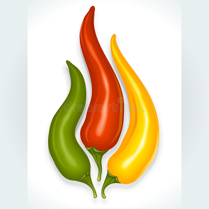 Hot chili pepper in the shape of fire sign stock illustration
