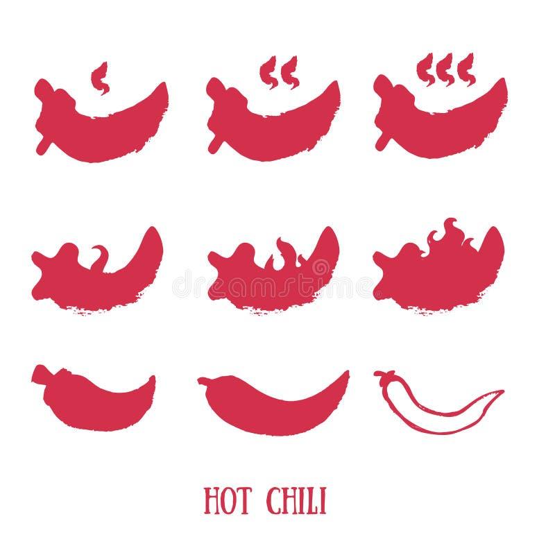hot chili pepper Wektorowa grunge ikona ustawiająca dla yourdesign Papryki ilustracja ilustracji