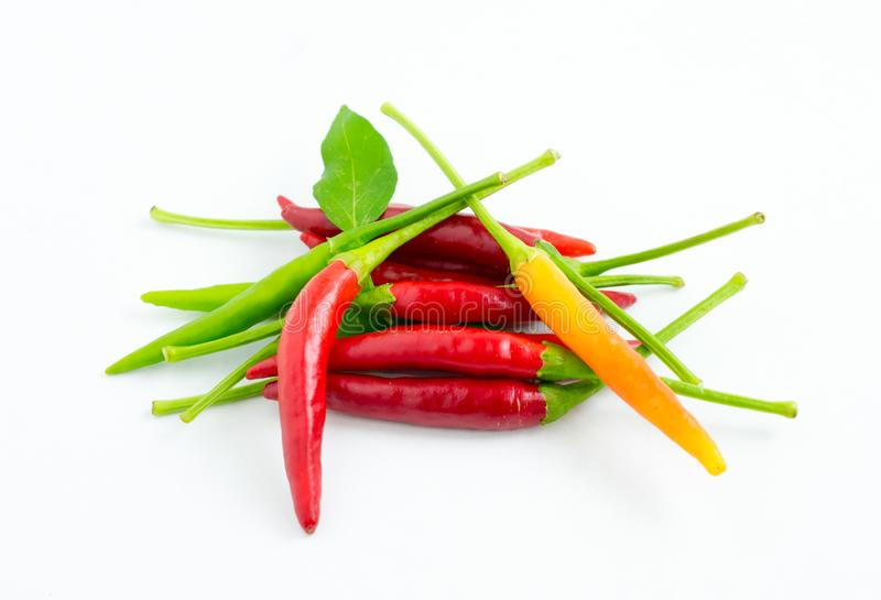 Hot Chili Peppers. Isolated on white background stock photography