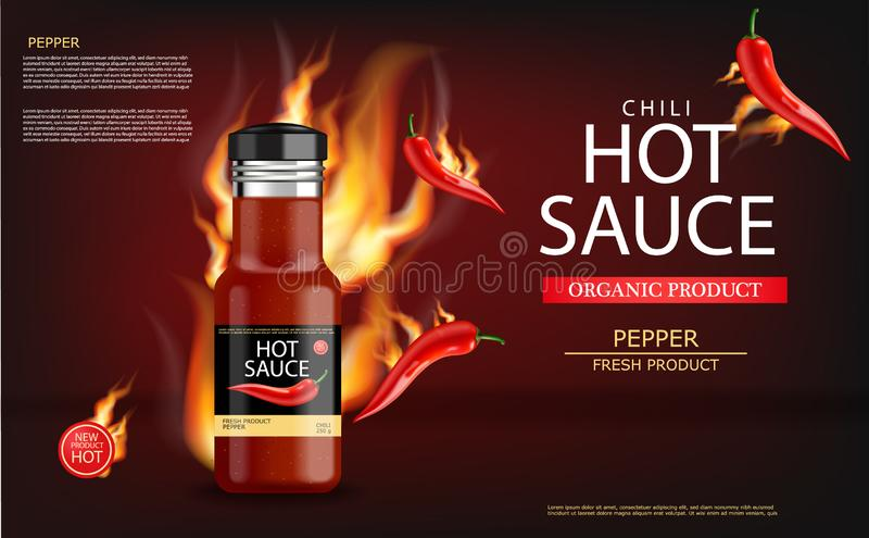 Hot chili sauce on fire vector realistic. Product placement mock up bottle. Label design advertise 3d illustrations royalty free illustration
