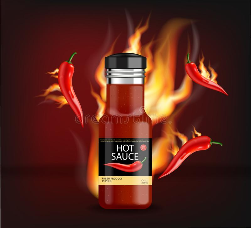 Hot chili sauce on fire vector realistic. Product placement mock up bottle. Label design advertise 3d illustrations stock illustration