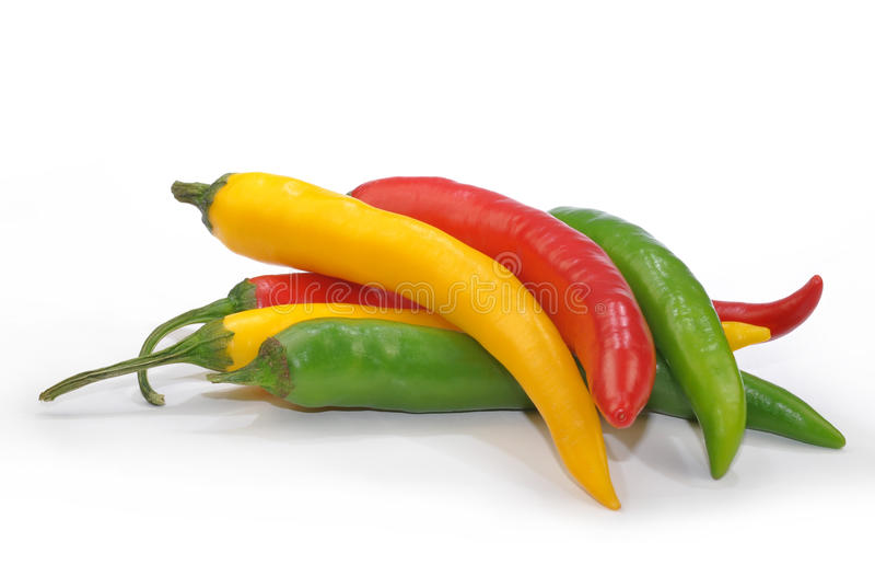 Hot chilli peppers isolated stock photography