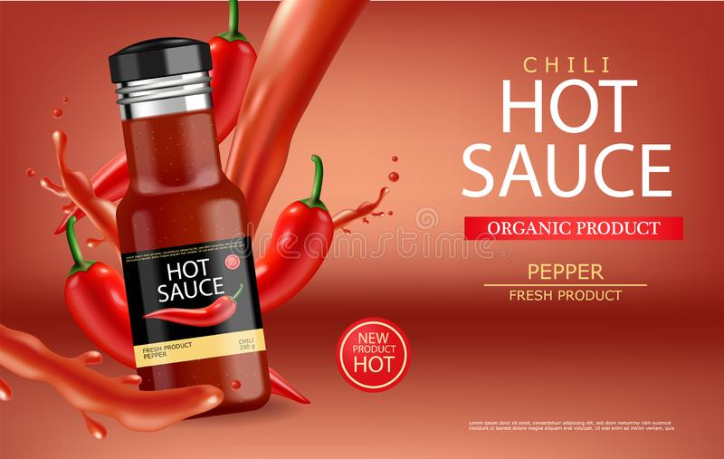 Hot chilli sauce vector realistic with splash. Product placement mock up bottle. Label design advertise 3d illustrations stock illustration