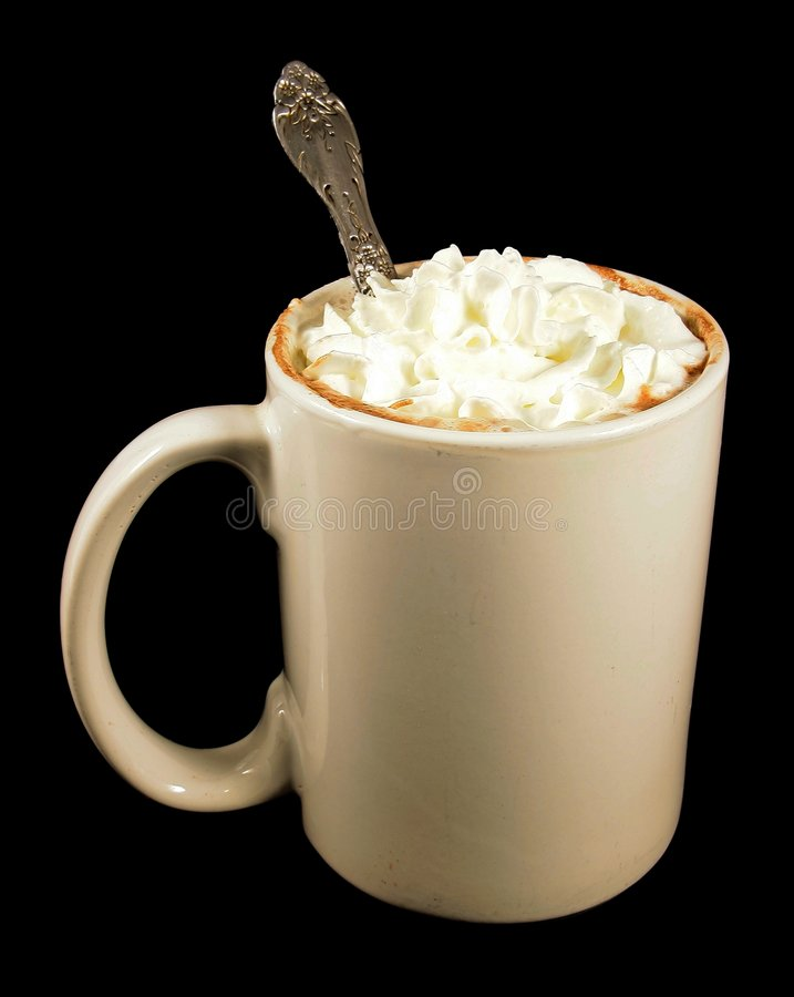 Hot Choclate & Whipped Cream. White Mug with hot choclate and whipped cream topping stock photo