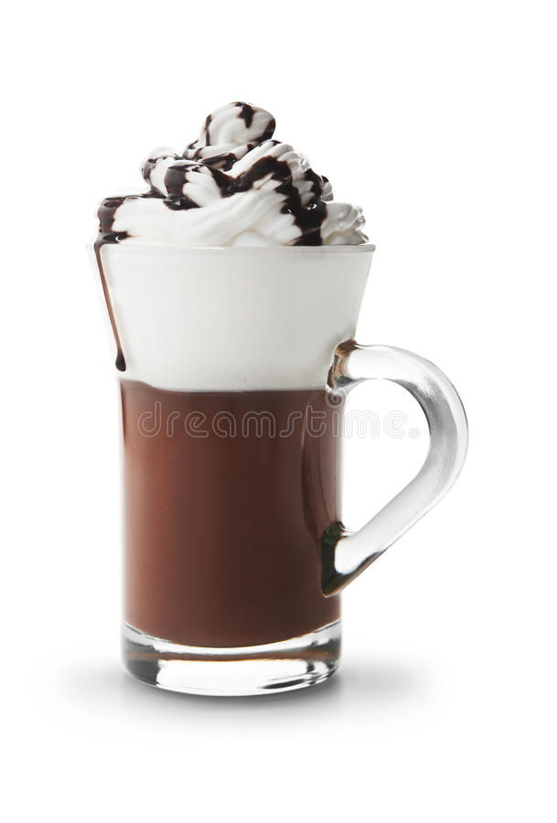 Hot chocolate. Cup of hot chocolate with whipped cream stock photos