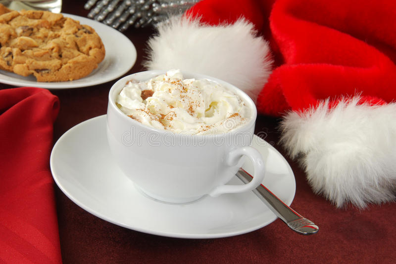 Hot chocolate on Christmas stock images