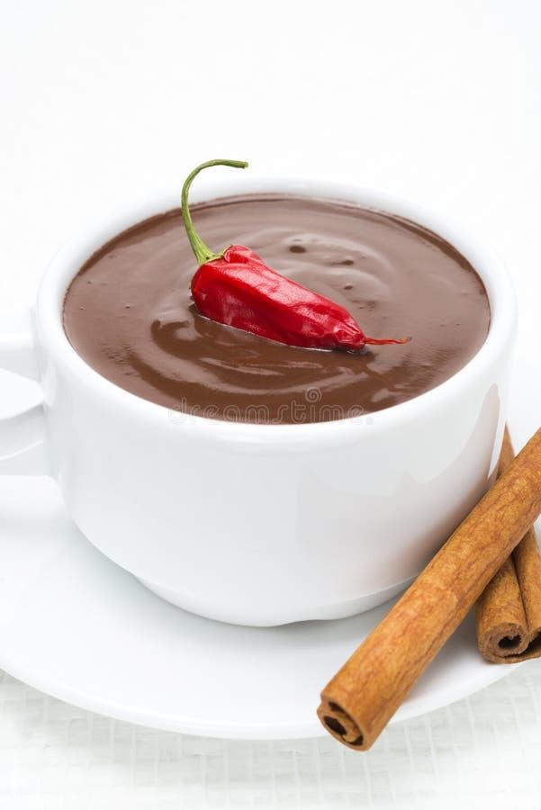 Hot Chocolate With Cinnamon And Chili Close Up Stock Photo Image Of Liquid Milk 34534688
