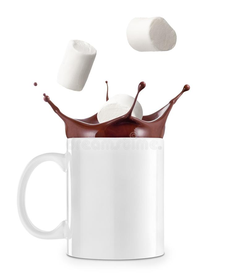 Hot chocolate or cocoa in cup stock photography