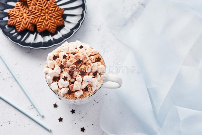 Hot chocolate or cocoa with whipped cream and marshmallow candy and Christmas gingerbread cookies royalty free stock photography