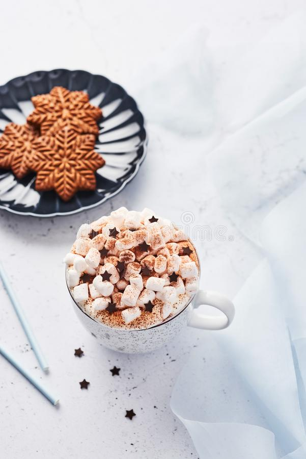 Hot chocolate or cocoa with whipped cream and marshmallow candy and Christmas gingerbread cookies royalty free stock image