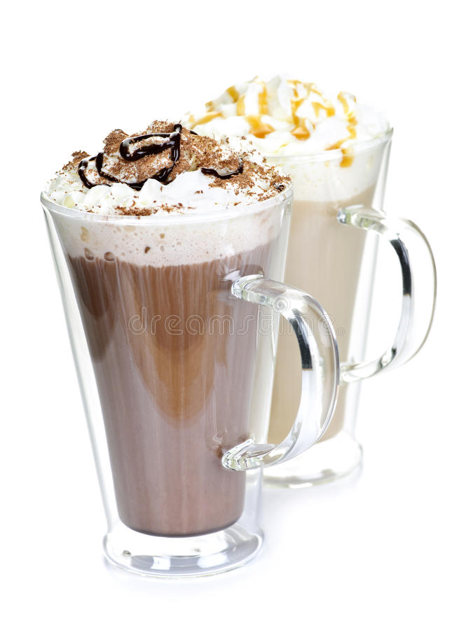 Hot chocolate and coffee beverages stock image