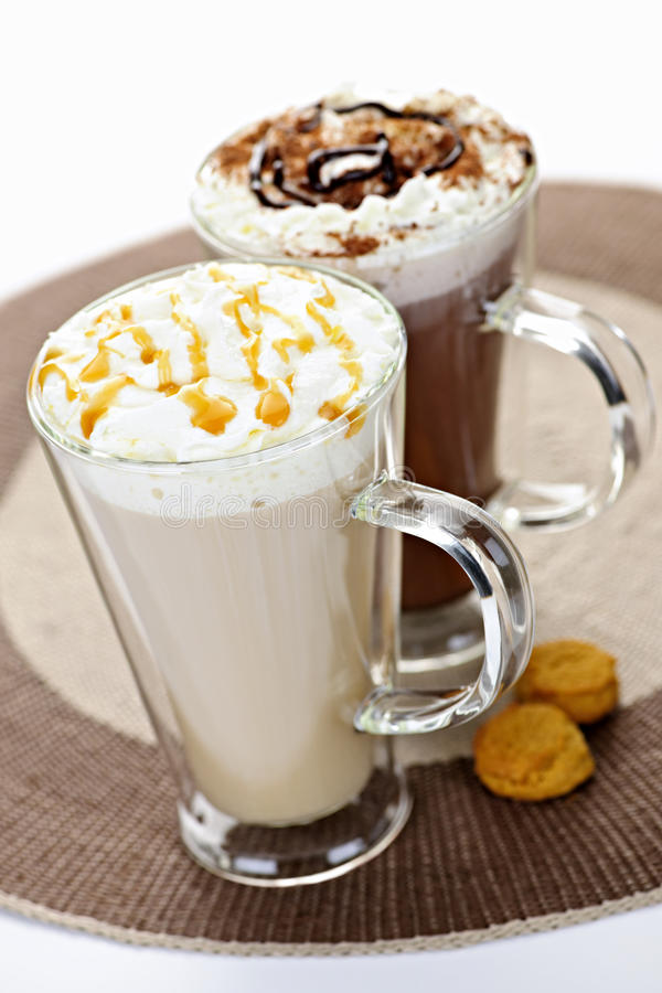 Hot chocolate and coffee beverages royalty free stock image
