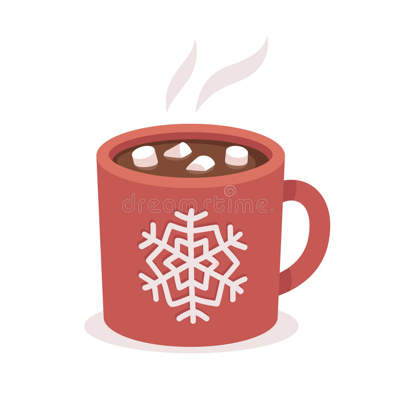 Hot chocolate cup. With marshmallows, red with snowflake ornament. Christmas greeting card design element. vector illustration royalty free illustration