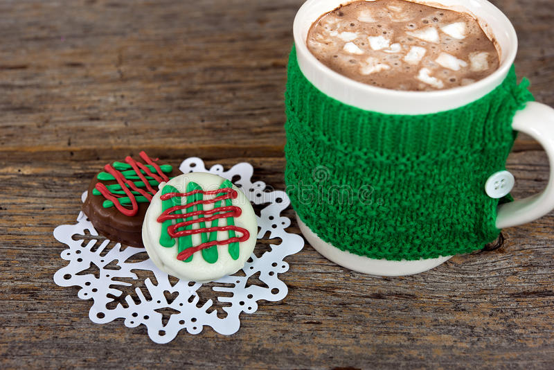 Hot chocolate drink with Christmas cookies royalty free stock image