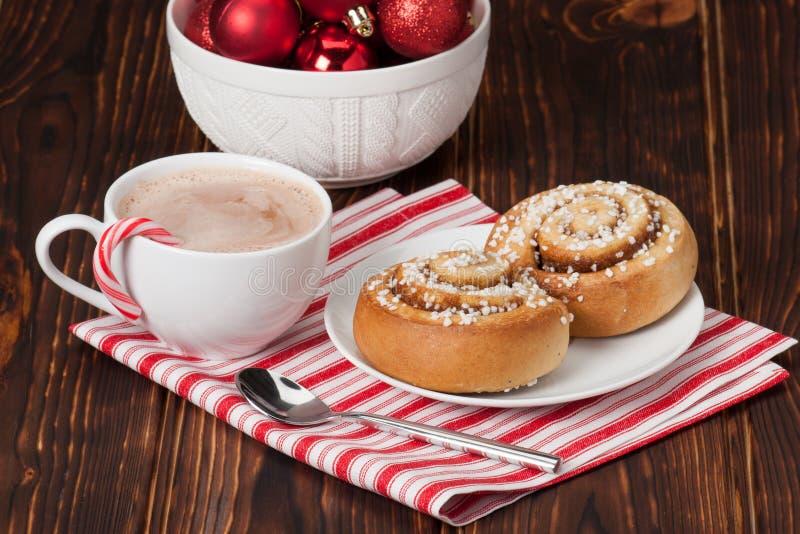 Hot Chocolate Drink. Cinnamon Swirls. Christmas stock photo
