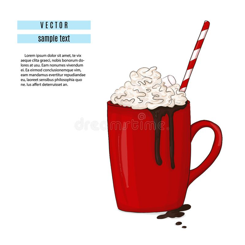 Hot chocolate drink illustration. Breakfast red cup with cocoa and marshmallow print. Sweet winter cozy mug with tube vector illustration