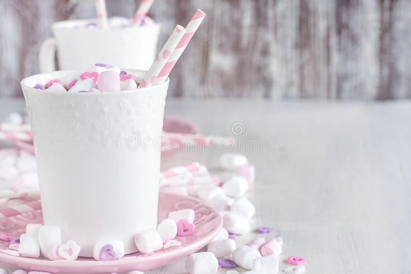 Hot chocolate with marshmallow background royalty free stock photos