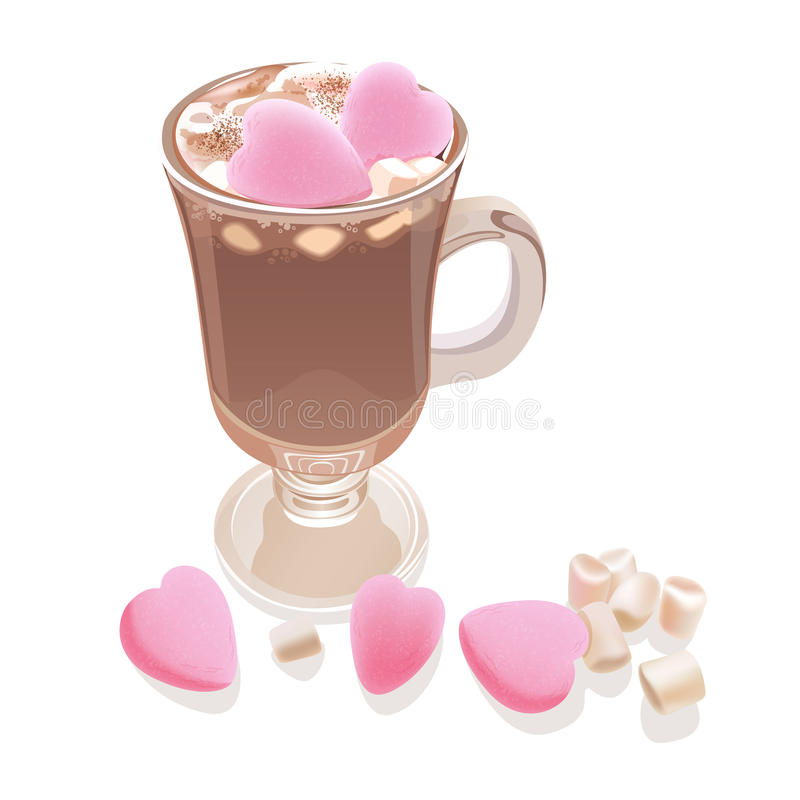 Hot chocolate with marshmallow sweet hearts. Romantic style beverage in glass with decorative elements. Vector illustration for cards, leaflets or banners on royalty free illustration