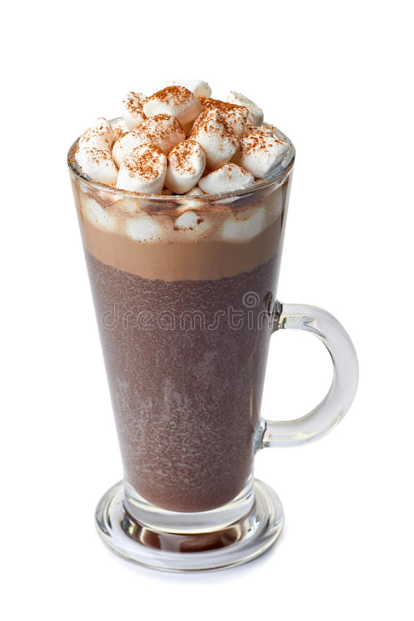 Hot chocolate with marshmallows in glass cup on white royalty free stock photo