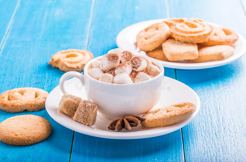 Hot chocolate with marshmallows royalty free stock image