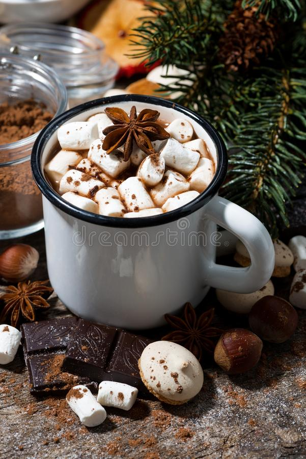 hot chocolate with marshmallows and sweets on wooden background royalty free stock photo