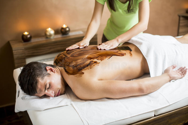 Hot chocolate massage royalty free stock images