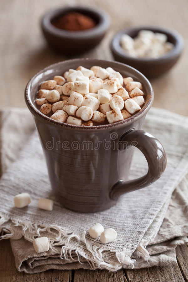 Hot chocolate with mini marshmallows warming drink stock photos