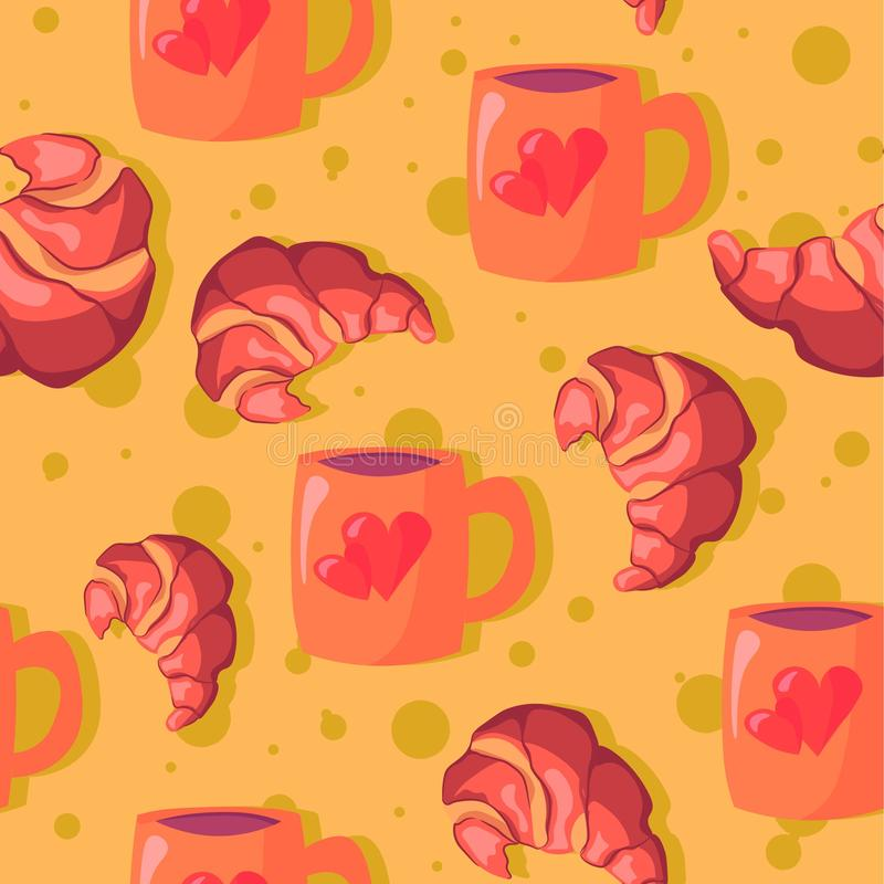 Hot chocolate in a pink mug with hearts and bakery products seamless pattern. Illustration of croissants and coffee for morning royalty free illustration