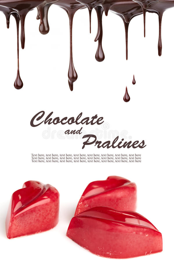 Hot chocolate pralines. Banner layout stock images