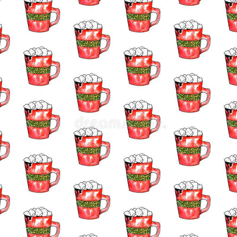 Red Christmas mug Cup of chocolate with marshmallows watercolor illustration royalty free illustration