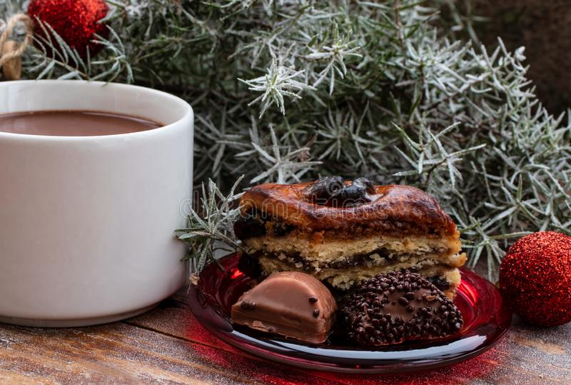 Hot chocolate and sweets on Christmas morning royalty free stock photo