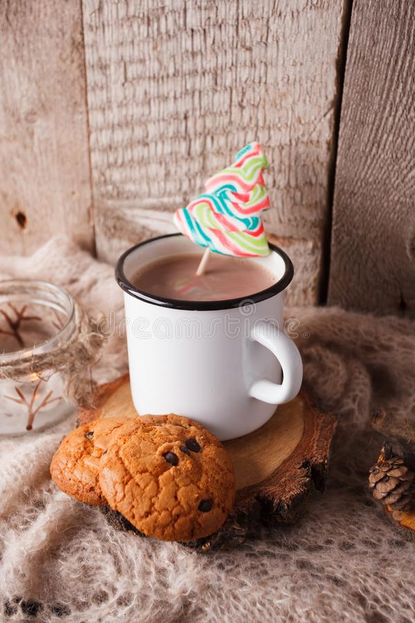 Hot chocolate warming drink wool throw cozy autumn winter cookies, christmas holiday background, copy space, top view royalty free stock images