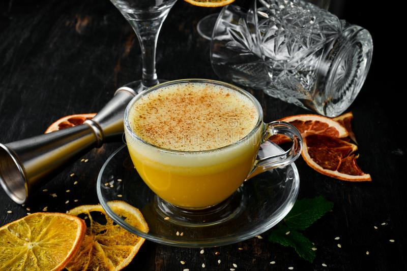 Hot citrus cocktail. Winter and autumn drinks. stock photography
