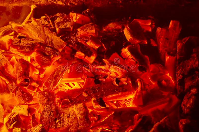 Hot coal with lights, preparation for cooking kebabs, barbecue. stock images