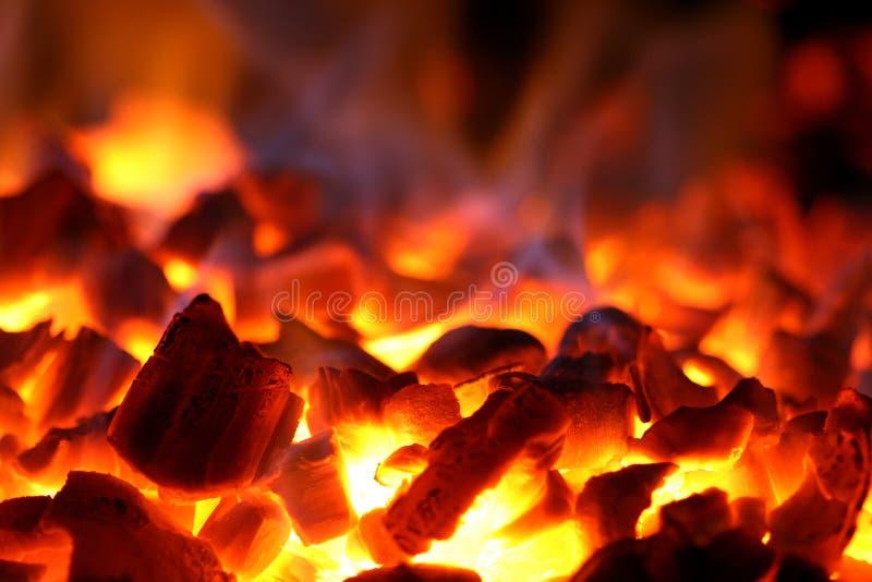 Hot coals. Red-hot coals in an oven stock image