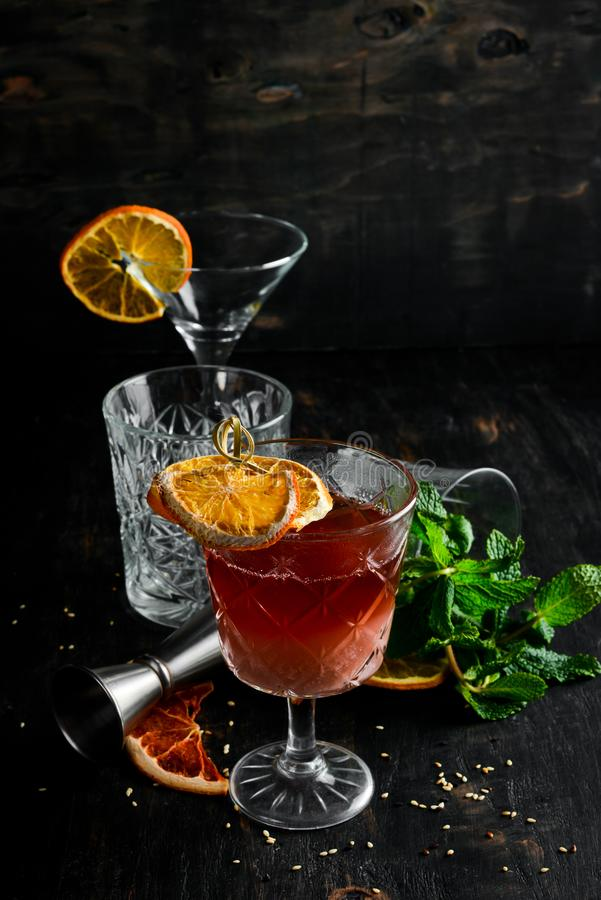 Hot cocktail. Rum, liquor and almond milk. royalty free stock image
