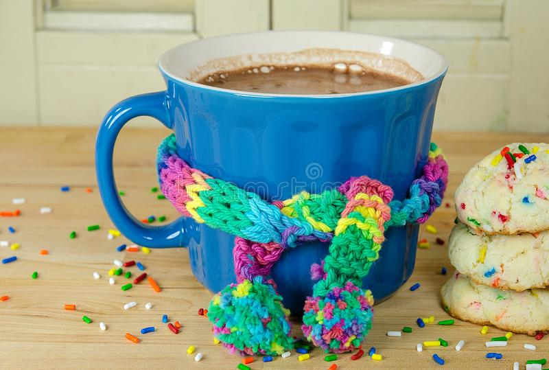 Hot cocoa drink with scarf and cookies royalty free stock photo