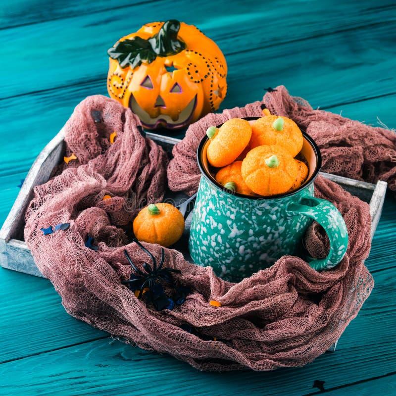 Hot cocoa with pumpkin marshmallows royalty free stock photo