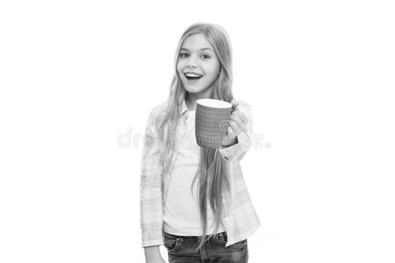 Hot cocoa recipe. Make sure kids drink enough water. Girl kid hold cup white background. Child hold mug. Drinking tea stock image