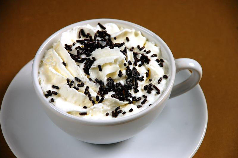 Hot cocoa with whipped cream royalty free stock image