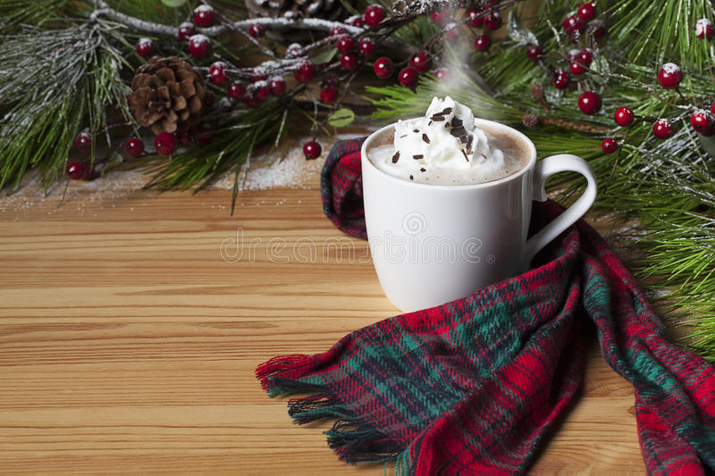 Hot Cocoa Whipped Cream. A steaming white mug of hot cocoa topped with whipped cream and chocolate shavings, red berries and pine in background stock images