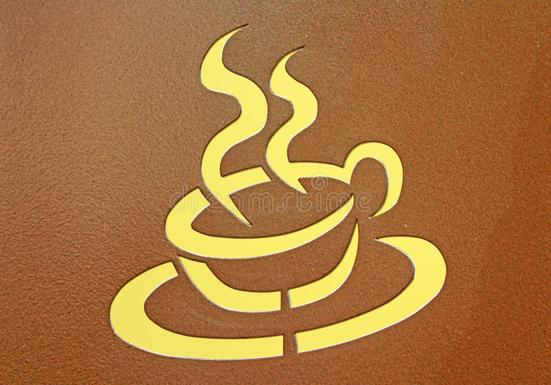 Hot Coffee. Stenciled image of a cup of hot steaming coffee or tea or cocoa on brown metal royalty free stock photos